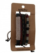 G-D18.3 Multi Bracelet Leather and wood B004-009B