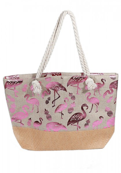 7996d761412 Y-D3.5 BAG217-006 Beach Bag with Wicker and Metallic Flamingos and  Pineapples 54x40cm Brown-Pink