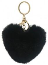 X-J6.2 KY414-003C Fluffy Bag-Keychain 10cm Heart Black