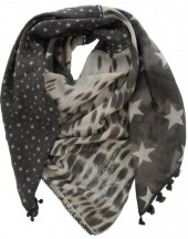 T-D8.2 S002-002 Grey with Stars-Crystals-Sequins 140x140cm