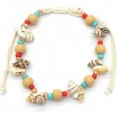 E-D22.1  B536-007 Rope Bracele Shells and Beads
