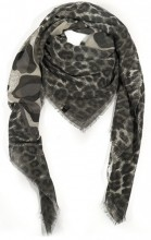R-J6.2 S106-001 Square Scarf with Animal Print and Glitters 140x140cm Grey
