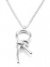 B-F7.1 SN104-391 925S Silver Necklace 17mm Knot