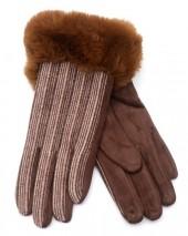 R-M2.2 GLOVE403-069B Gloves Rib Fabric and Faux Fur Brown