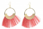 E-A17.1  E222-004 Earrings With Tassels 7x4cm Pink-Gold