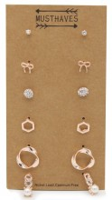 F-C4.3 E426-021 Earring Set 6 Pairs Rose Gold