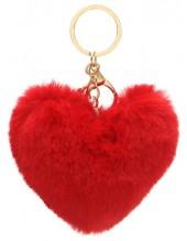 X-I6.2  KY414-003B Fluffy Bag-Keychain 10cm Heart Red