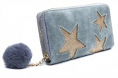S-F1.2 WA009-002 Wallet with Glitter Stars and Pompon 19x10cm Blue-Grey