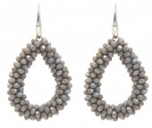 A-B8.3  E007-001 Facet Glass Beads 4.5x3.5cm Grey