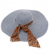 HAT210-001 Hat with Leopard Scarf Blue