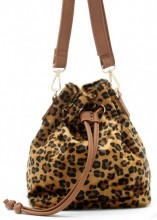 Q-L8.2 BAG202-009 PU Bag with Leopard Print 19x18x10cm Brown
