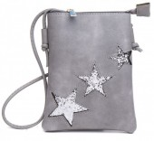 Q-K7.1 BAG012-001 PU Bag with Glitter Stars 25x15cm Grey