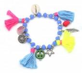 D-A16.1 B302-007 Elastic Summer Bracelet with Tassels Blue