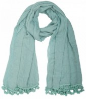 L-E6.2 Square Blue Scarf with Tassels 140x140cm