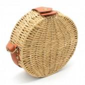 Z-C2.4 BAG323-002 Round Straw Bag with PU Straps Brown 18x18x7 cm