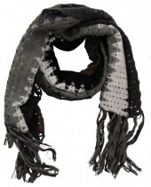 Y-C6.2 Knitted Scarf with Fringes Color Blocking Multi Color 50x180cm