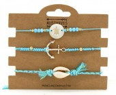 C-C3.1 B221-004 Bracelet Set 3pcs Anchor-Turtle-Shell Blue