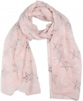 X-I4.2 SCARF507-008D Scarf Shells and Starfish 180x70cm Pink