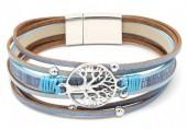 B-B18.3 B104-003 Leather Bracelet with Tree of Life Blue