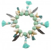 H-B20.1 B021-006 Bracelet with Tassels-Shells-Feathers Blue