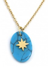D-E15.3  N1939-016 Stainless Steel Necklace with 15mm Marble and Star Gold