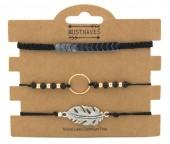 F-C16.1 B316-003 Bracelet Set 3pcs Feather-Circle Black