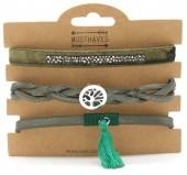 B1202-208 3pcs PU Bracelet Set with Tree of Life Green