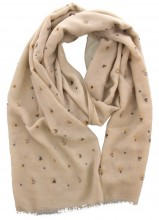 X-E5.1 S004-015 Scarf with Dots - Hearts and Golden Glitters 180x70cm Light Brown