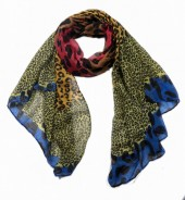 X-K9.1  SCARF509-002B Multi Color Animal Print 180x85cm