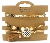 A-A15.5 B538-003 Bracelet Set 3pcs with Tassel and Coins