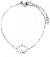 D-C3.1 B016-009 Stainless Steel Bracelet Sun with Crystal Silver