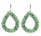 E007-001 Facet Glass Beads 4.5x3.5cm Green