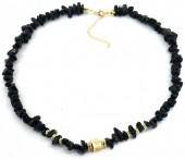 D-F6.1 N2019-021G Necklace Black Onyx Stones Gold