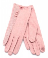 R-J3.1 GLOVE403-093B Glove Buttons and Snake Print Pink