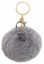 X-I6.1  KY414-004D Bag-Keychain Fluffy 9cm Grey