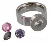I-D22.6  Stainless Steel Ring Silver R004-037 Size 19 Interchangeable Diamonds