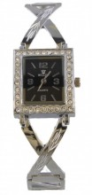 A-C24.1  Quartz Watch Metal with Crystals 30x22mm Silver
