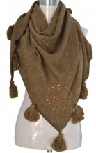 Y-B6.2 Scarf with Glitters-Pompons and a Studded Peace Sign 160x70cm Triangle Brown
