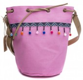 Y-E1.2 BAG013-001 Canvas Bag with Pompons 30x26x18cm Pink