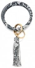 S-C6.4 BC514-001B Bag - Key Chain Ring with Tassel Snake Grey