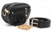 BAG212-006 PU Snakeskin Combination Bag incl Belt Black 20x13x6 cm