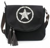 R-D4.1 BAG118-005 Canvas Crossbody Bag with Star 28x33cm Black