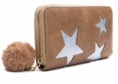 Q-J3.2 WA009-002 Wallet with Glitter Stars and Pompon 19x10cm Brown
