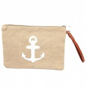 T-B2.3 BAG324-002 Jute Clutch with Anchor White