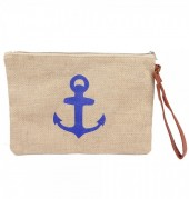T-C6.1  BAG324-002 Jute Clutch with Anchor Blue