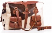 K-B2.2 BAG-907 Large Leather Bag 44x31x13cm Brown Leather with Mixed Cowhide
