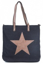 Q-K8.2 BAG017-018 Black Canvas Bag With PU Star 43x31x16cm