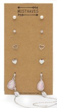 F-C19.1 E426-022 Earring Set 6 Pairs Silver