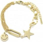 A-E22.1 B014-016G S. Steel Bracelet Smiley Star Gold