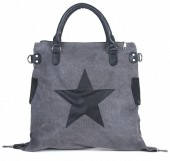 Q-C8.2  BAG017-003 Grey Canvas Bag with PU Star XL 44x40x16cm